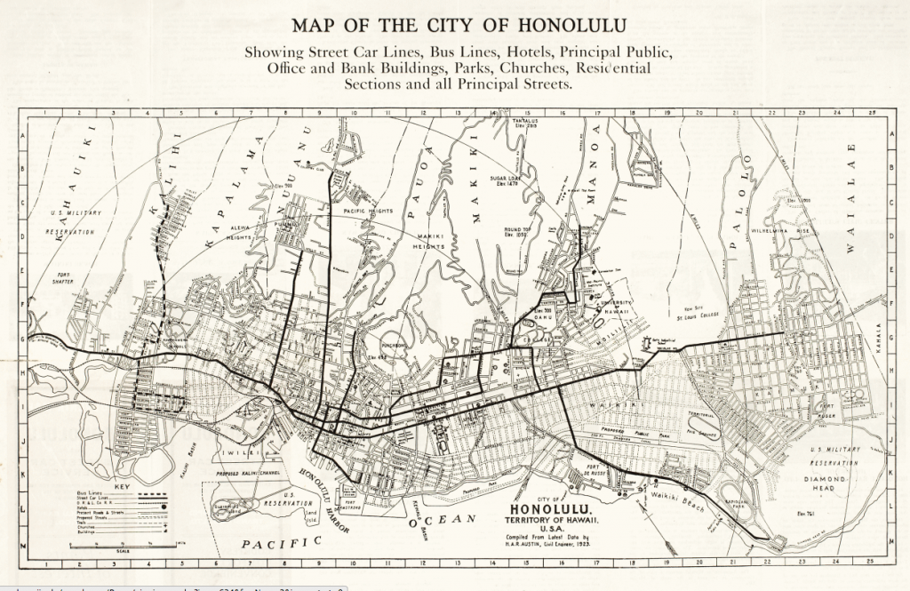 Honolulu map showing Streetcar and Bus Lines