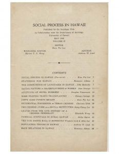 Social Process in Hawaii, 1936